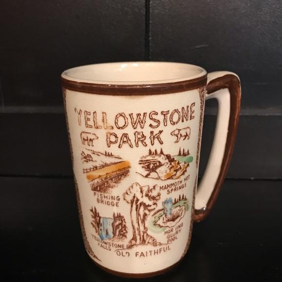 Vintage Luggage Label for Yellowstone Printed Mug image on both sides